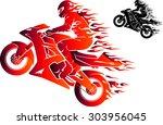 fiery sports motorbike racer...