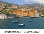 fishing boats  city beach and... | Shutterstock . vector #303963869