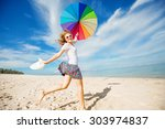 cheerful young girl with... | Shutterstock . vector #303974837