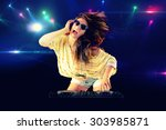 dj girl dancing with light on... | Shutterstock . vector #303985871