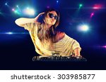 dj girl dancing with light on... | Shutterstock . vector #303985877