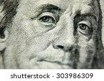 Small photo of Macro close up of the US 100 dollar bill. Extreme macro. Shallow dof