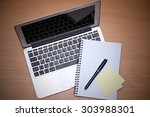 office table with laptop ...   Shutterstock . vector #303988301
