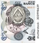 5 lempiras bank note. lempira...   Shutterstock . vector #303998639