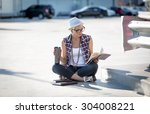 young stylish woman reading... | Shutterstock . vector #304008221