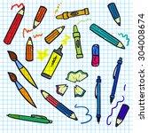 sketch doddle elements on... | Shutterstock .eps vector #304008674