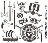 set of viking warrior elements. ... | Shutterstock .eps vector #304019741