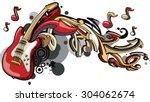 vector guitar   arrows graffiti   Shutterstock .eps vector #304062674