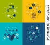 business flat infographic   Shutterstock .eps vector #304068131