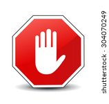 no entry hand sign on white... | Shutterstock .eps vector #304070249