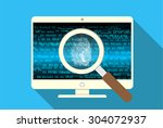 magnifying glass scanning and... | Shutterstock .eps vector #304072937
