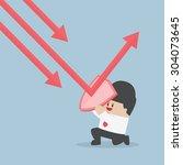 businessman holding shield... | Shutterstock .eps vector #304073645