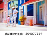 happy father and son enjoy life ... | Shutterstock . vector #304077989