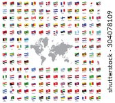 world flags all vector color... | Shutterstock .eps vector #304078109