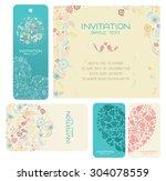 wedding invitation card set...   Shutterstock .eps vector #304078559