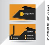 business cards template with... | Shutterstock .eps vector #304081121