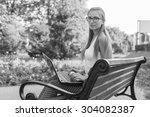 black and white. bw. young...   Shutterstock . vector #304082387