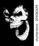 doodle vector skull face | Shutterstock .eps vector #304082699