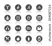 fitness icons | Shutterstock .eps vector #304087214