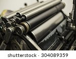 old printing machine with oil ... | Shutterstock . vector #304089359
