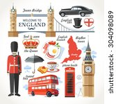 england traditional set | Shutterstock .eps vector #304098089