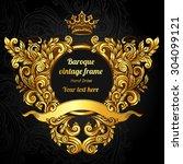 vector gold baroque pattern on... | Shutterstock .eps vector #304099121
