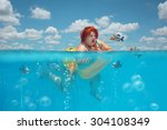 beautiful young fat woman is... | Shutterstock . vector #304108349