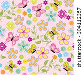 seamless pattern with flower... | Shutterstock .eps vector #304112357