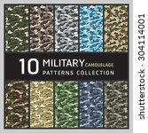 10 military camouflage pattern. ... | Shutterstock .eps vector #304114001