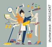 vector illustration in super... | Shutterstock .eps vector #304114247