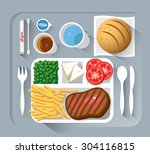 airplane lunch   vector... | Shutterstock .eps vector #304116815
