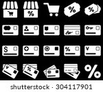 shopping and bank card icon set.... | Shutterstock .eps vector #304117901