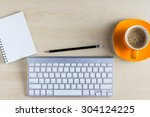 office table with notepad ... | Shutterstock . vector #304124225