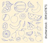 set sketches of fruit  isolated | Shutterstock . vector #304147871