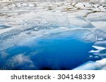 cracked ice on lake | Shutterstock . vector #304148339