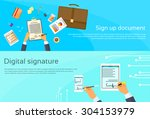 contract sign up paper document ... | Shutterstock .eps vector #304153979