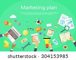 digital marketing plan creative ... | Shutterstock .eps vector #304153985