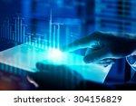 close up of human hands using... | Shutterstock . vector #304156829