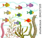 colorful sea fishes. vector... | Shutterstock .eps vector #304157105