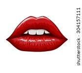 red lips on white background.... | Shutterstock .eps vector #304157111
