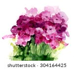 Watercolor Wildflowers On A...