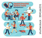 smartphone addiction... | Shutterstock .eps vector #304166231