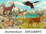 funny animals in a mountain... | Shutterstock .eps vector #304168895