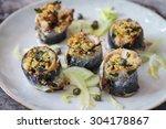 roast stuffed sardines with... | Shutterstock . vector #304178867