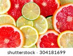 fresh grapefruit juicy slices.... | Shutterstock . vector #304181699