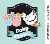 baby shower design  vector... | Shutterstock .eps vector #304195787