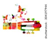 colorful guitar fretboard with...   Shutterstock .eps vector #304197944