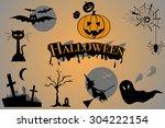 halloween icon set | Shutterstock .eps vector #304222154