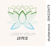 logo  emblem with a lotus... | Shutterstock .eps vector #304225475