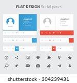 vector social panel in flat...